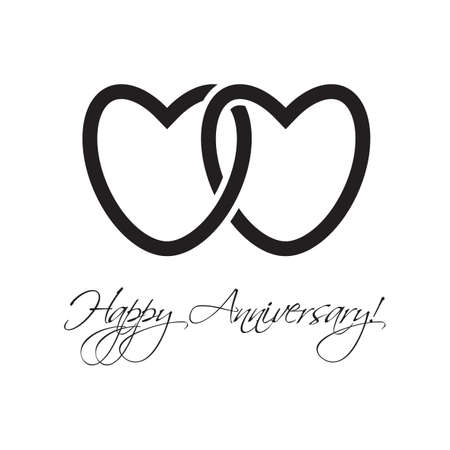 anniversary card: happy anniversary card with hearts Illustration