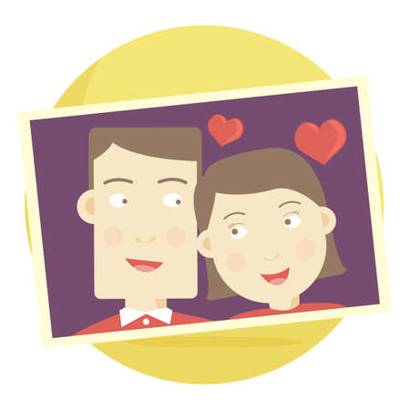 courtship: photograph of a couple in love Illustration