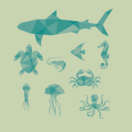 aquatic: collection of aquatic animals Illustration