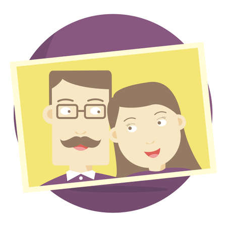 middle age woman: photograph of a middle-aged couple Illustration