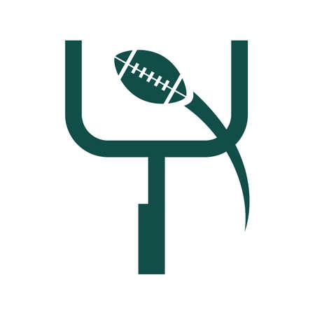 goalpost: american football with goalpost Illustration