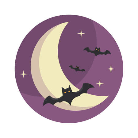 over the moon: bats flying over moon