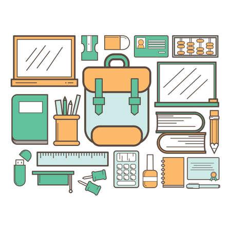 satchel: collection of school supply Illustration