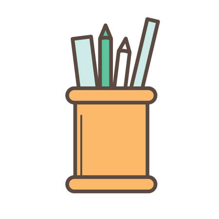 rulers: pencils and rulers in pen container Illustration