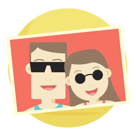photograph: photograph of a couple wearing sunglasses Illustration