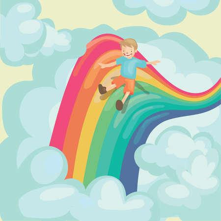 rainbow slide: boy sliding on rainbow