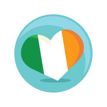 ireland flag: ireland flag in shape of heart