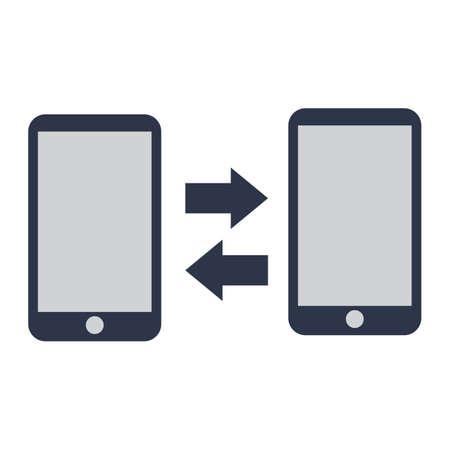 transferring: smartphones with data transferring arrows Illustration