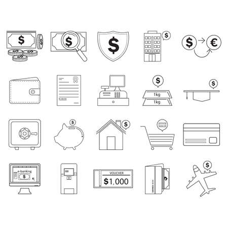 cash register building: banking and finance icons