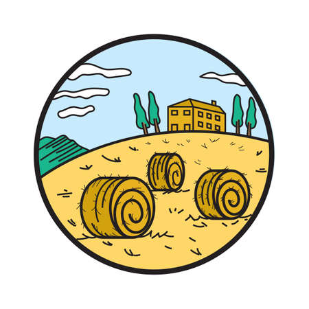 hay bale: hay bale on a hill