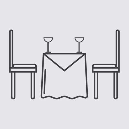 dining table: dining table with glasses Illustration