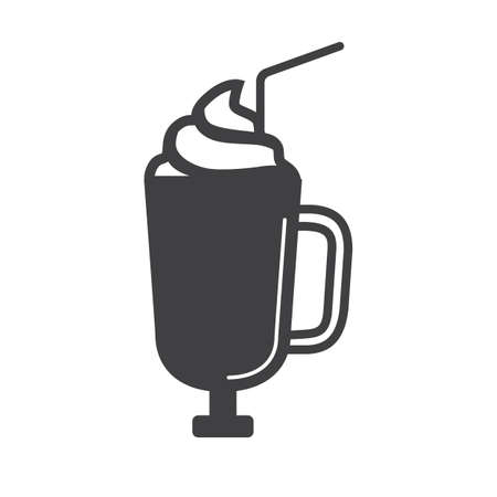 whip: glass cup with whip cream Illustration