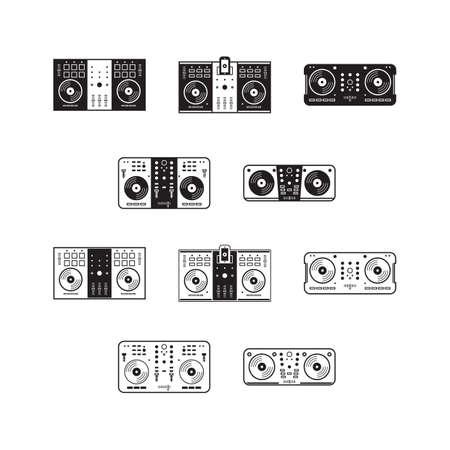 set van dj mixer iconen Vector Illustratie