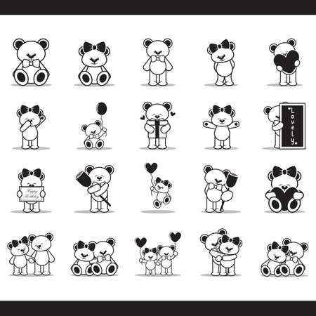 set of teddy bear icons