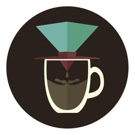 papel filtro: papel de filtro de caf� en la taza Vectores