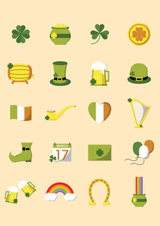 st  patricks: set of st. patricks day icons Illustration