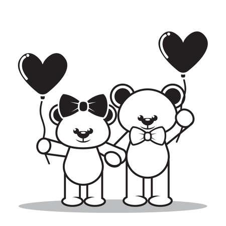 teddy bears: teddy bears with love balloon Illustration