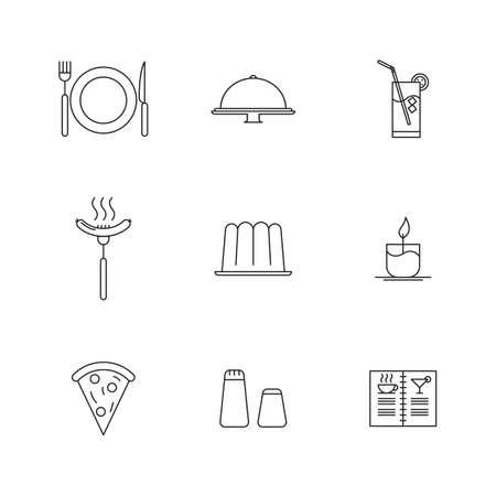 cake plate: restaurant icons Illustration