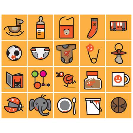 milk pail: baby icons set Illustration