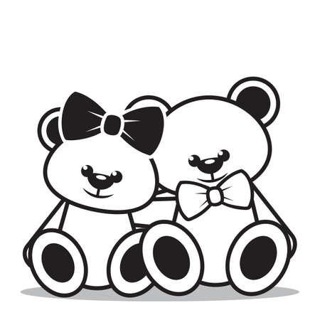 osos de peluche: osos de peluche que se sientan junto Vectores
