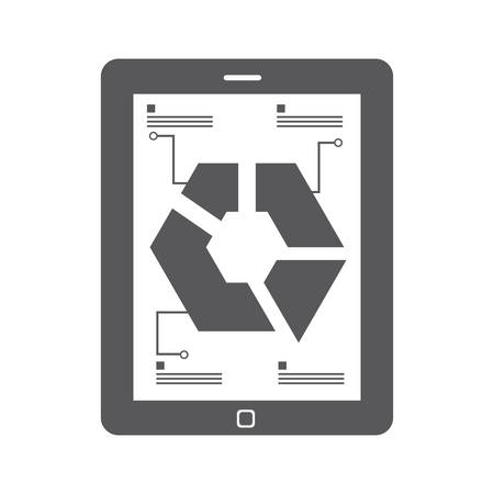 infograph: tablet with infograph presentation