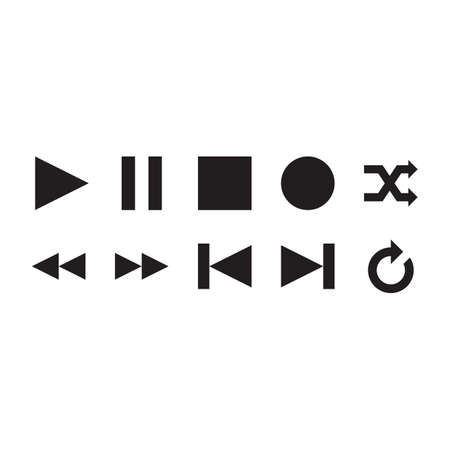 media player: collection of media player icons Illustration