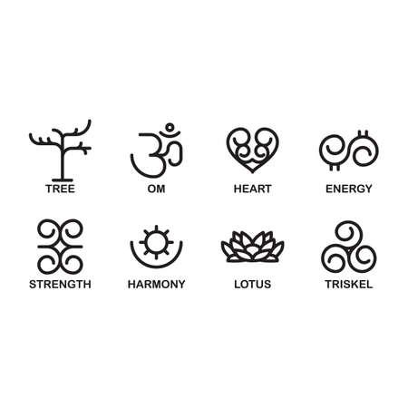 triskel: set of wellness symbols Illustration