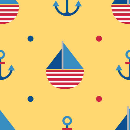anchor background: sail boat and anchor background Illustration