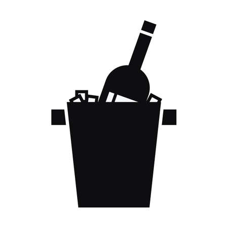 ice bucket: wine bottle in ice bucket Illustration
