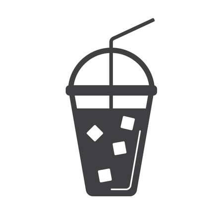 icecubes: takeaway cup with a straw