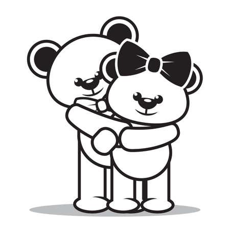 teddy bears: teddy bears holding each other Illustration
