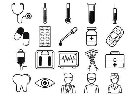 eye bandage: medical icons collection Illustration