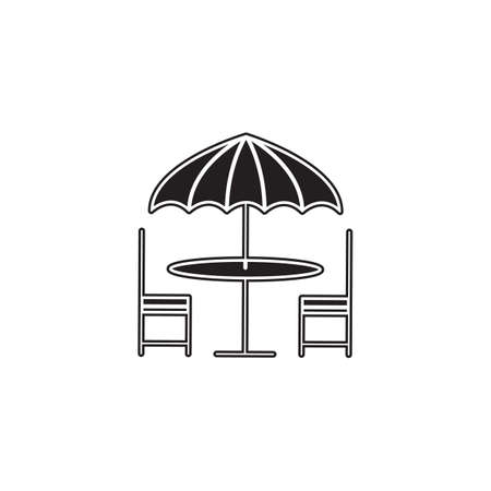 outdoor seating: table with umbrella and chairs
