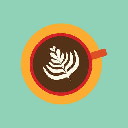 caffe: latte with leaf design in foam