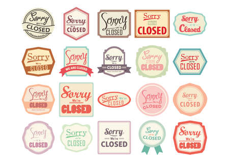 closed ribbon: sorry we are closed labels collection Illustration
