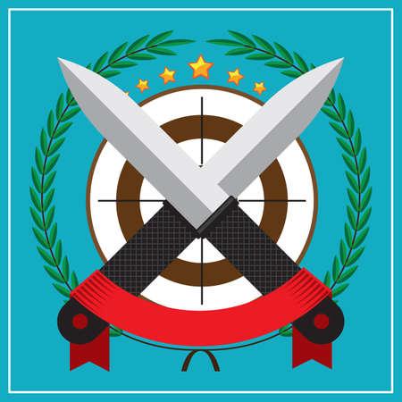 throwing knife: throwing knife emblem Illustration