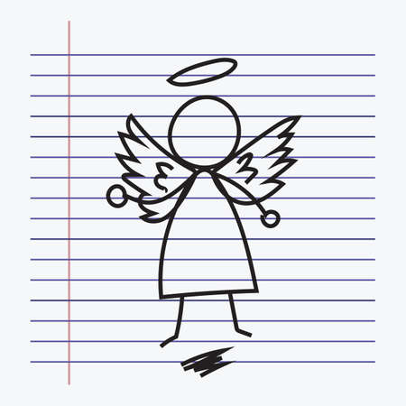 lined paper: angel drawing on lined paper