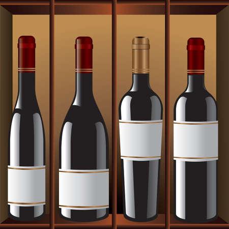 unlabelled wine bottles