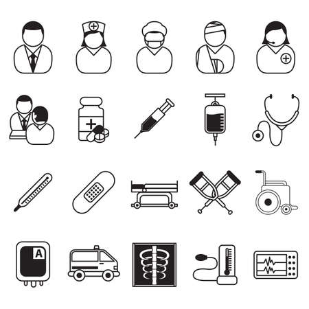 xray machine: doctor icons Illustration
