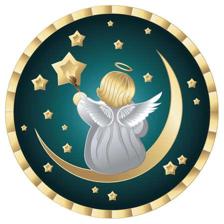 moon angels: cute little angel sitting on moon
