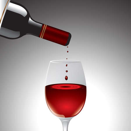 red wine pouring: pouring red wine into glass Illustration