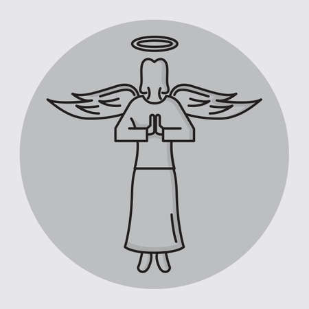 folded hands: angel folded hands with halo Illustration