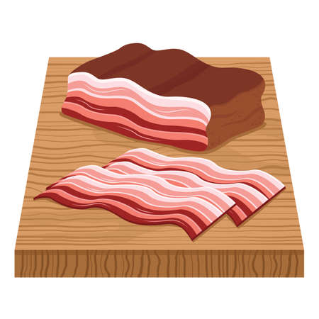 bacon strips: bacon strips on chopping board Illustration