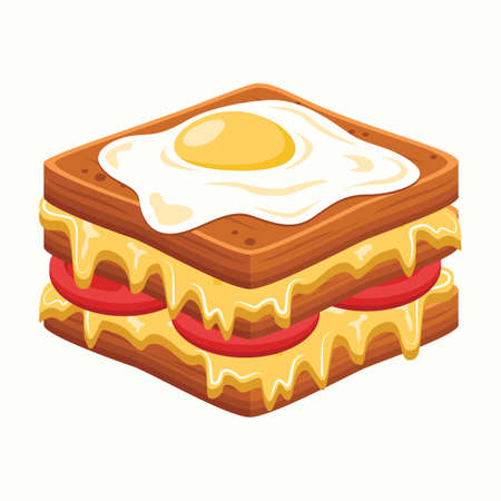 fried egg: sandwich with fried egg Illustration
