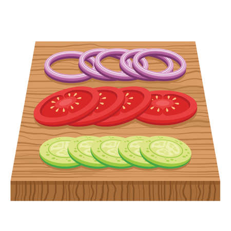 chopping: vegetable slices on chopping board