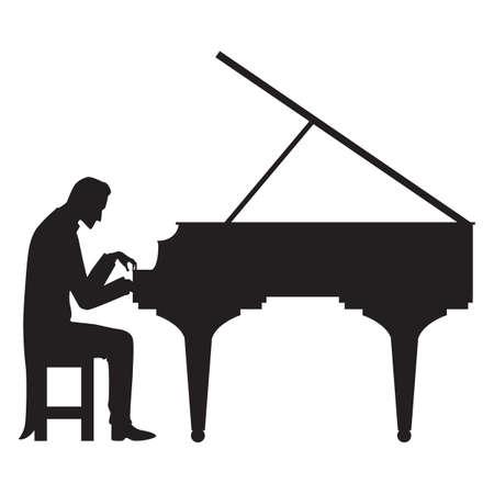 피아노 연주 남자의 실루엣 일러스트