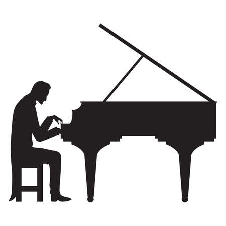 silhouette of man playing piano Vettoriali