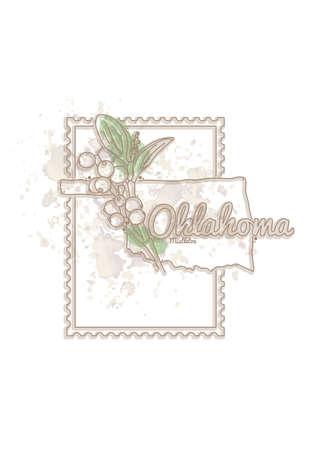 oklahoma: oklahoma map with flower