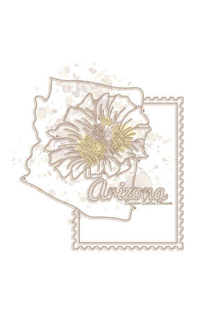 saguaro: arizona map with flower