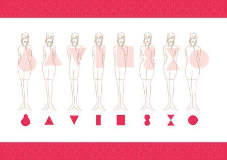 vrouwen lichaamstypes Stock Illustratie